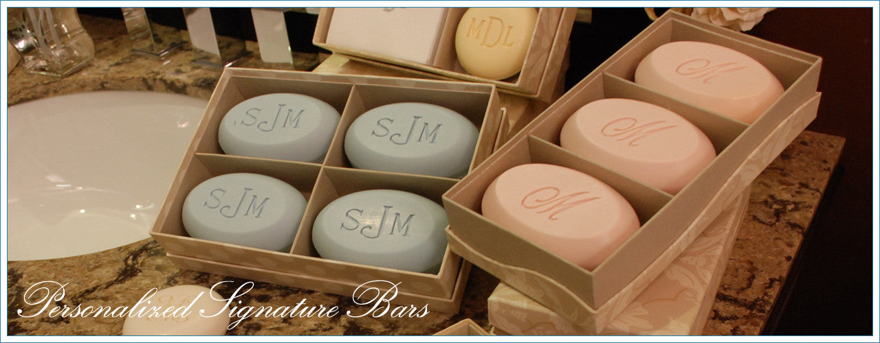 Signature personalized engraved scented soap bars – available in 8 fragrances – personalize one of four ways, with a monogram, single initial, name/text or graphic/custom logo – from New Hope Soap – available in single, duo, trio and quad bar boxes