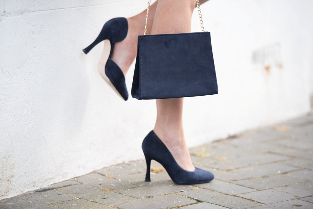 navy suede wide fit stilettos
