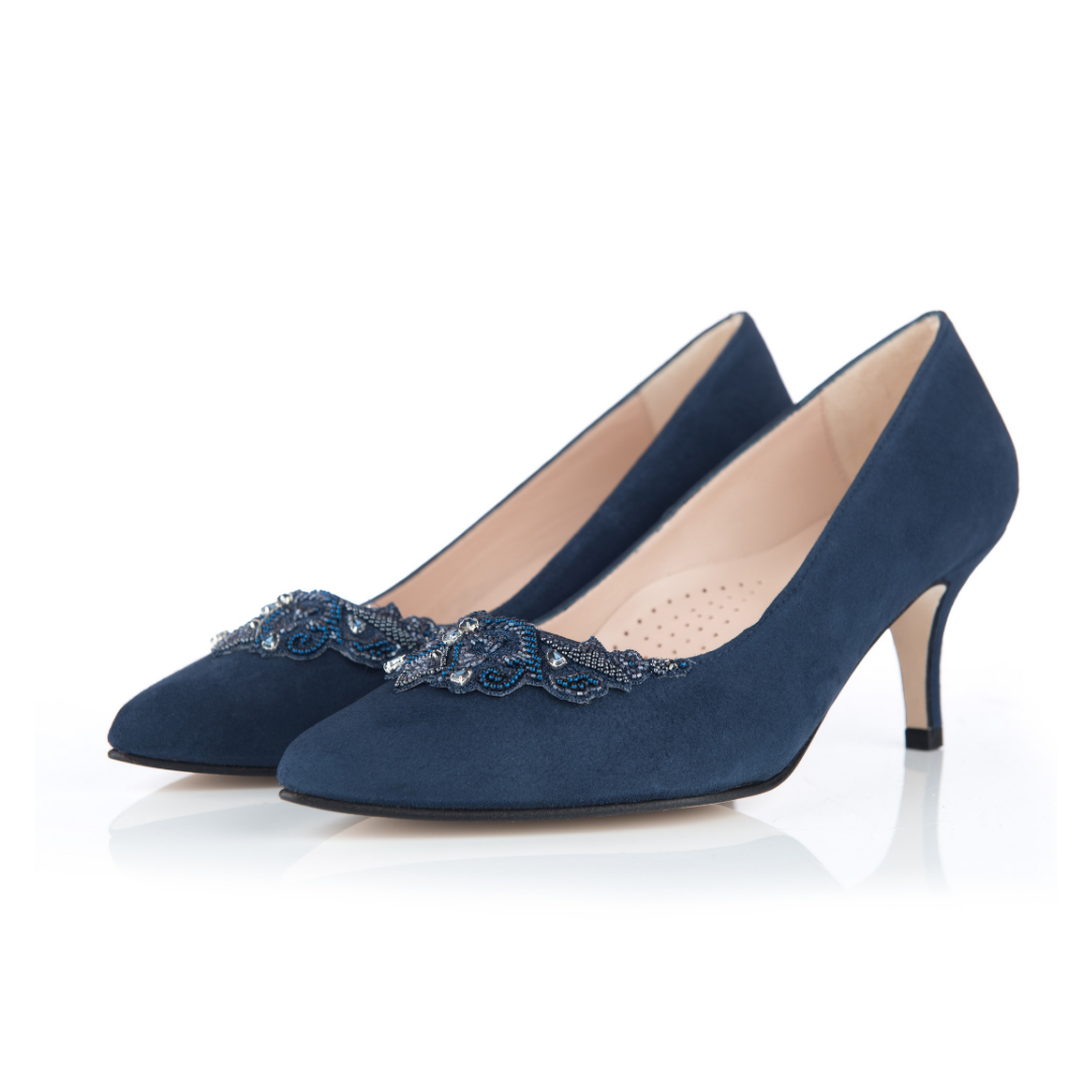 Leather \u0026 Suede Wide Fit Court Shoes