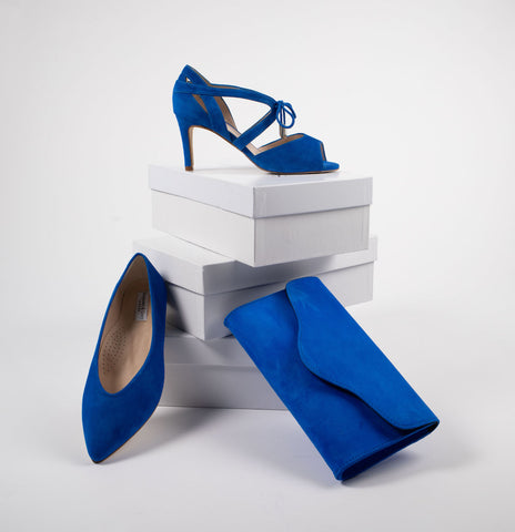 wide fitting electric blue suede occasion shoes and matching bag