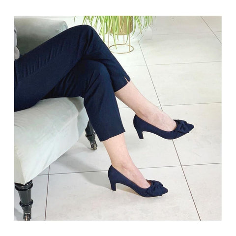 wide fit navy suede courts