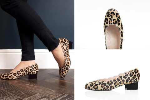 wide fit leopard print scallop edge pumps
