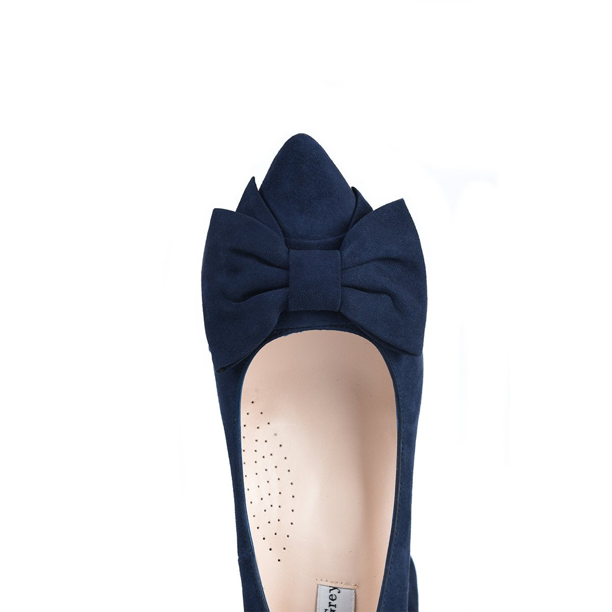 Wide Fit Navy Suede Court Shoe With A