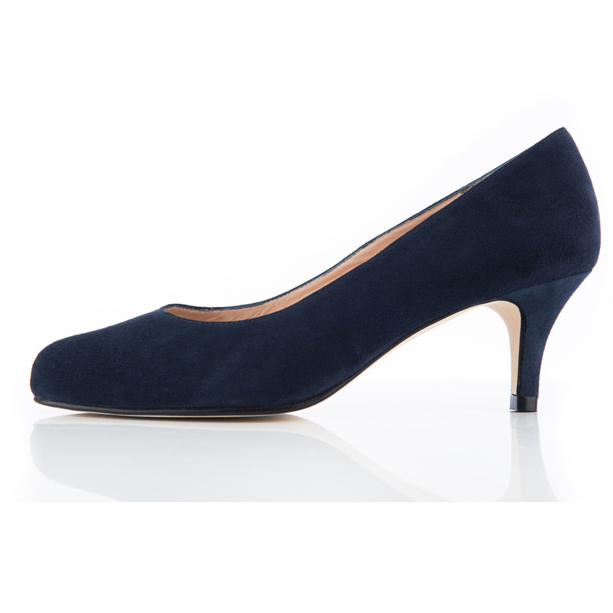 Wide Fit Navy Suede Court Shoe With