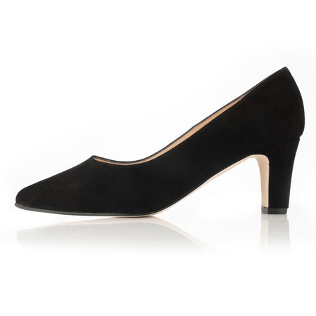 wide fit black suede court with block heel