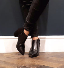 Wide Fit Black Suede And Leather Ankle