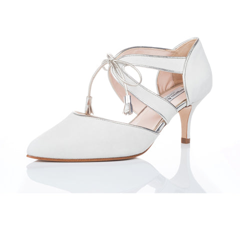 ivory suede extra wide fitting bridal shoes