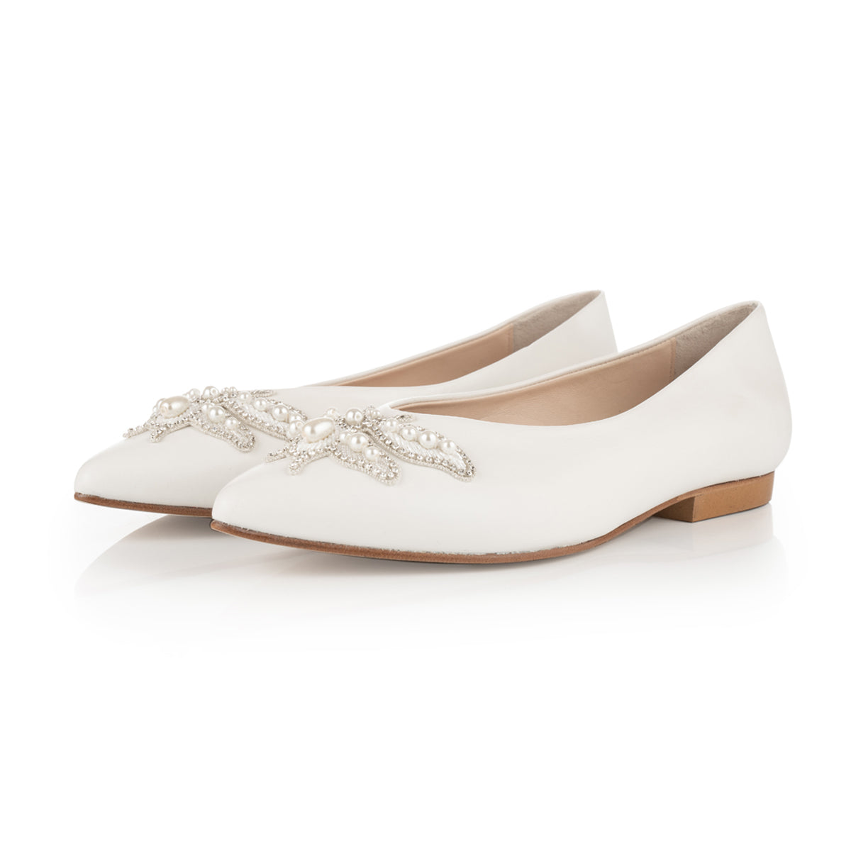 Wide fit ivory leather bridal Flats