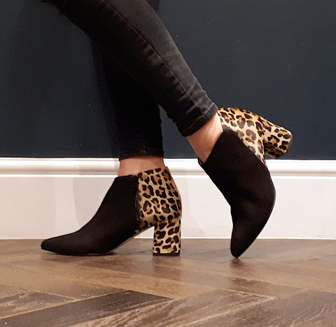 Extra wide fit leopard print boots