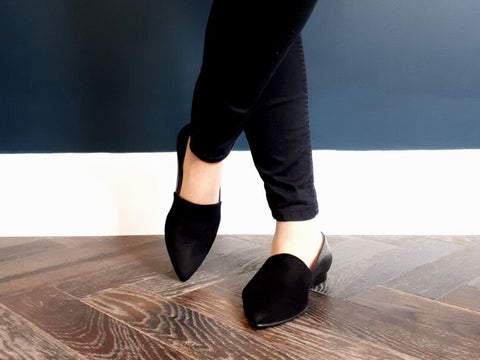 Extra wide-fit black leather and suede loafer flats
