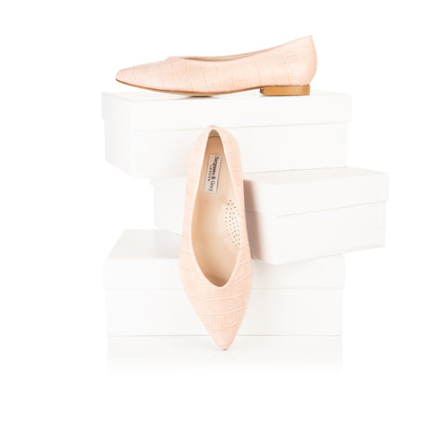 wide fit pink flats