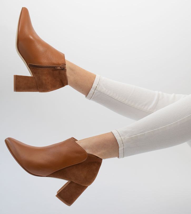 Wide Fit Tan Suede And Leather Ankle Boots