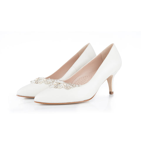 Wide fit ivory leather wedding shoes with beaded embellishment