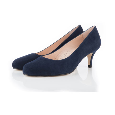 rounded toe navy wide fitting shoes