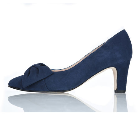 wide fit navy bow court shoe for mother of the bride or wedding