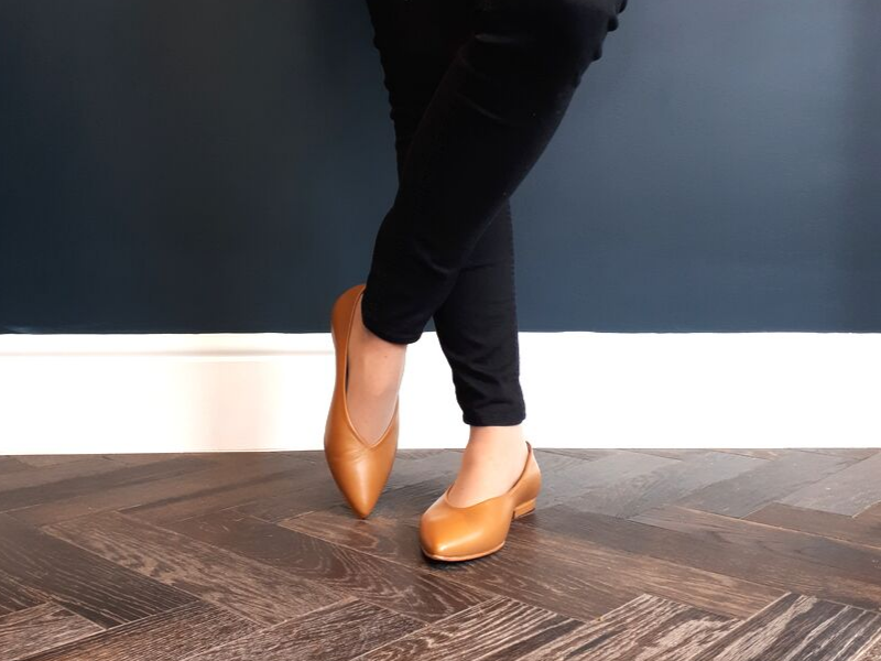 Wide Fit Tan Leather Flat Shoes