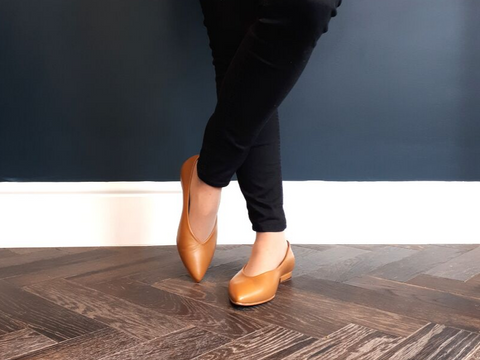 Extra wide fit tan leather flats