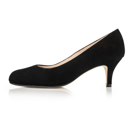 black suede wide fit rounded toe court shoe