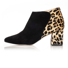 Black Suede And Leopard Print Ankle Boots