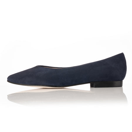 wide fitting navy suede ballet flats for wide feet