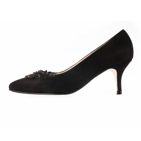 Elyse Wide Fit Court Shoes - Black Suede