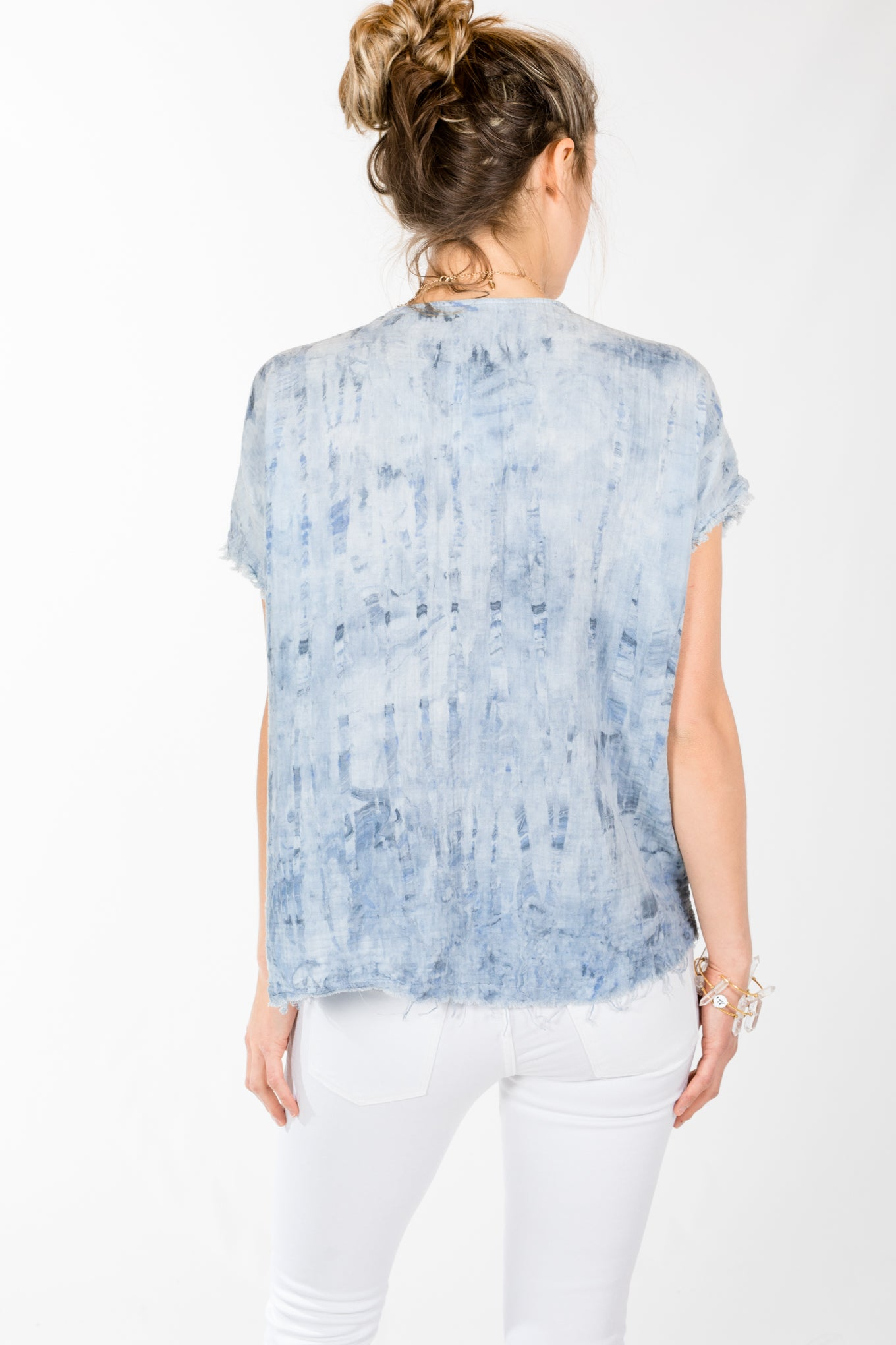 Fifteen Twenty.Boxy Frayed Hem Top.Tie Dye