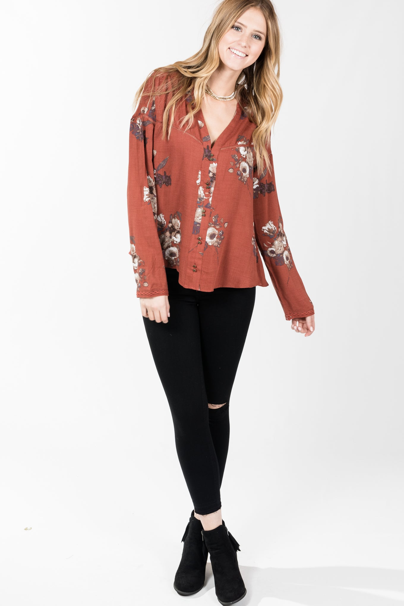 Gentle Fawn.Elaine Top.Copper Floral