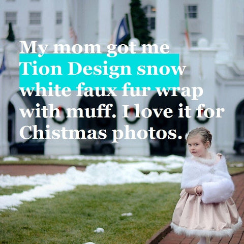 Snow white flower girl fur wrap