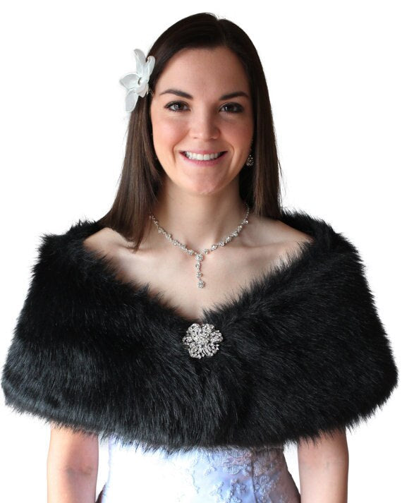 Bridal shawl wrap, black wedding fur wrap, faux fur shrug