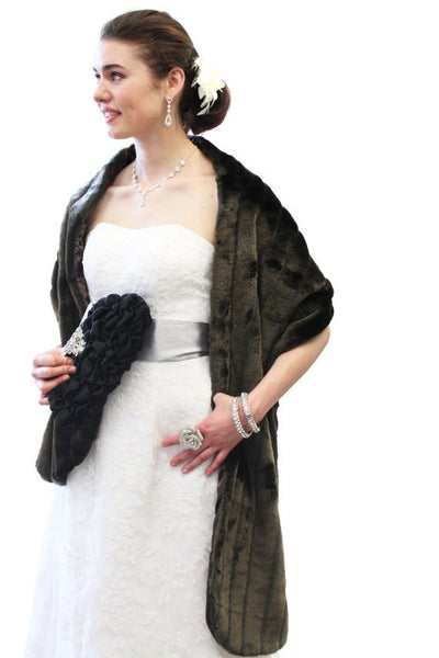 Brown Faux Fur Stole, bridal stole, faux fur wrap, faux fur cape, faux fur shrug