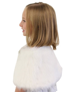 Faux Fur Wrap White, bridal shrug for flower girls