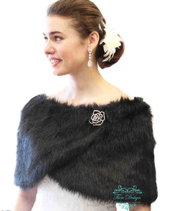 Bridal Shawl Wrap, Black faux fur wedding wrap, faux fur stole, faux fur shrug, fur shawl