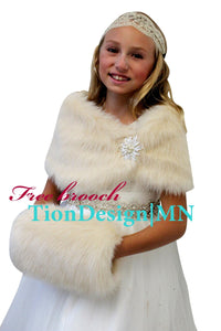 Champagne Faux Fur Wrap, Fur Stole, Fur Shawl Girls