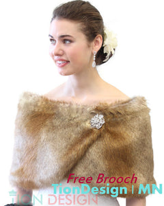 Bridal Faux Fur Wrap, Vintage Brown faux fur stole, Bridal capes and wrap