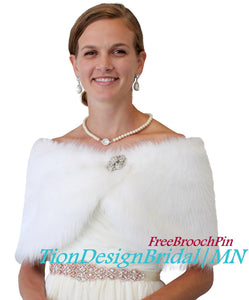 Bridal fur wrap, White Faux Fur stole for Brides, faux fur shawl