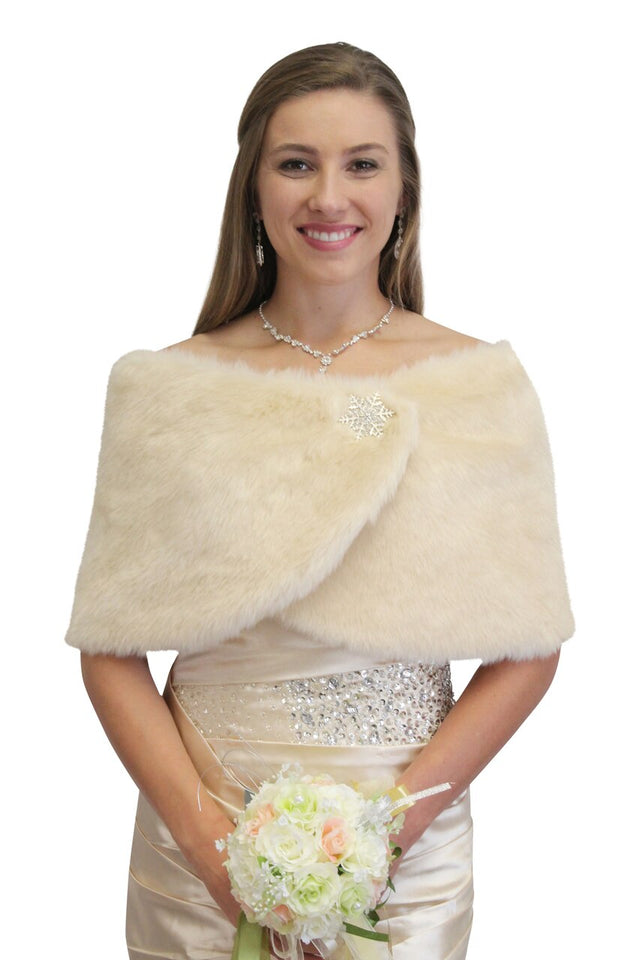 Champagne #3 faux fur bridal wrap, wedding fur stole, fur shrug, fur cape
