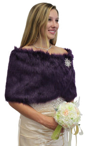 Purple Faux Fur Wedding Wrap, Bridal Fur Shrug, Fur Stole, Fur Shawl