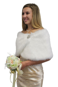 Bridal White Faux Fur Wrap Shawl Stole for Brides Winter Wedding