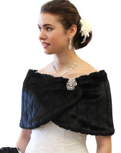 Bridal Wedding Black fur shawl Stole wrap