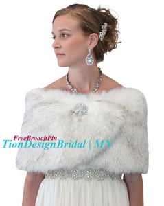 Bridal fur shawl wrap, Arctic Fox  Wedding Wrap Faux Fur, Fur Shrug