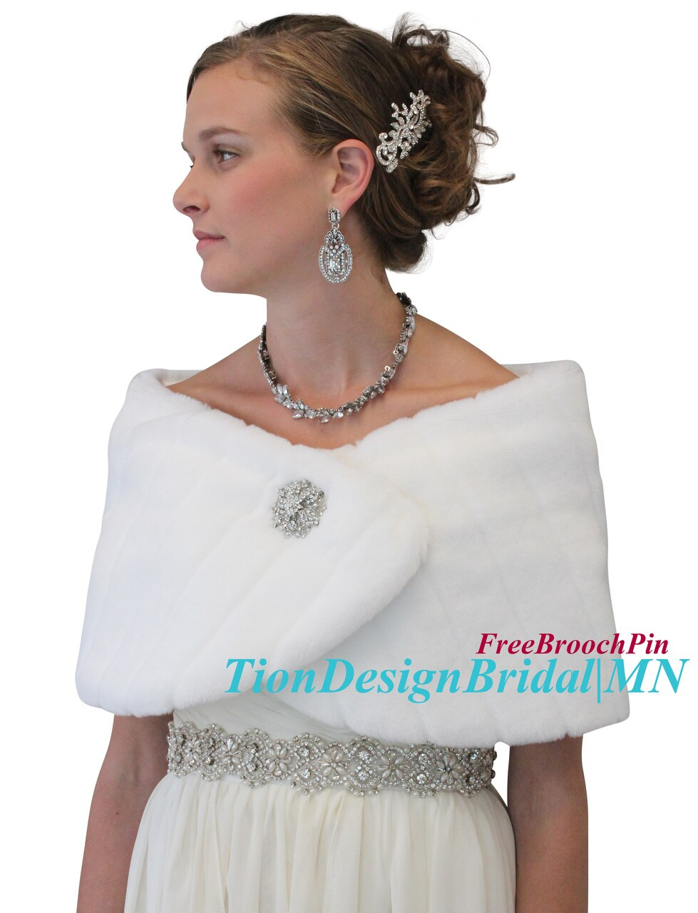 Bridal fur shawl wrap, White Wedding Faux Fur Wrap, Fur Shrug