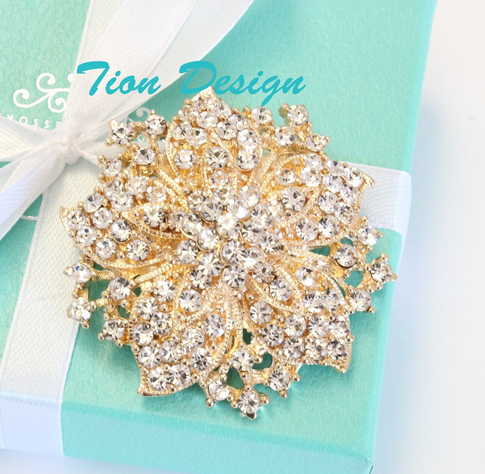 Gold Wedding Brooch, Vintage Crystal Brooch