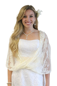 Lace Bridal Bolero Wedding Shawl Champagne