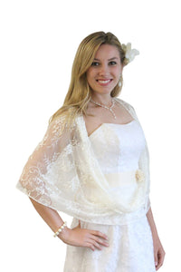 Lace Bridal Bolero Wedding Shawl Ivory