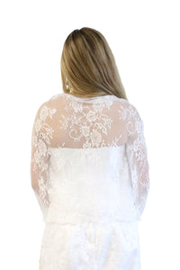 Lace Bridal Bolero Wedding Shawl White
