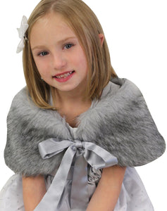 Chinchilla Grey Girls Child Faux Fur Shawl Fur shrug Fur stole