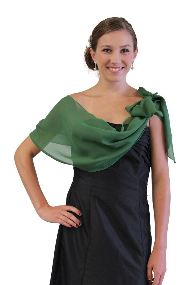Chiffon Bridal Wrap Wedding Shawl - Clover Green 5139CH