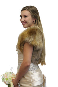 Faux Fur Bolero Jacket Vintage Brown, bridal fur bolero, wedding jacket, faux fur shrug