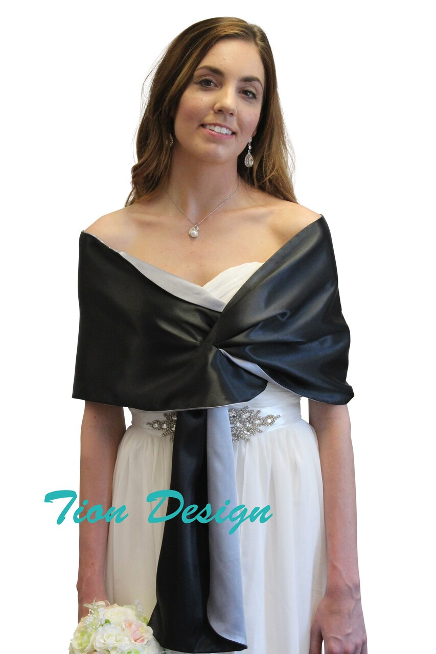 Black-Grey Reversible Satin Evening Wrap