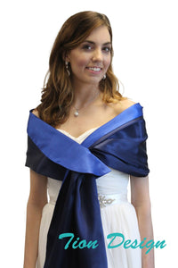 Navy Blue-Royal Blue Reversible Satin Evening Wrap